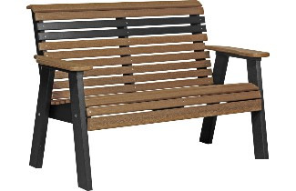 4PPBAMB 4' Plain Poly Bench (Antique Mahogany & Black)
