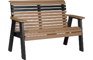 4PPBCB 4' Plain Poly Bench (Cedar & Black)