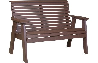 4PPBCBR 4' Plain Poly Bench (Chestnut Brown)