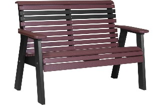 4PPBCHB 4' Plain Poly Bench (Cherrywood & Black)