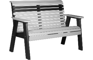 4PPBDGB 4' Plain Poly Bench (Dove Gray & Black)