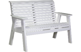 4PPBW 4' Plain Poly Bench (White)