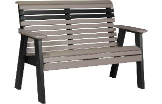 4PPBWWB 4' Plain Poly Bench (Weatherwood & Black)