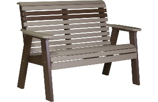 4PPBWWCBR 4' Plain Poly Bench (Weatherwood & Chestnut Brown)