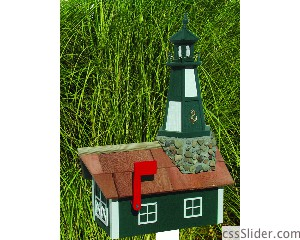 LHMB Lighthouse Mailbox green Cape Henry